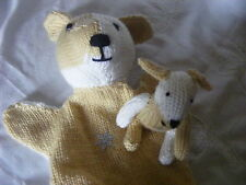 NEW HAND KNITTED DOG GLOVE/HAND PUPPET AND BABY