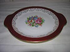 Salem China Maroon Band - 23K Gold Filigree - Floral Center - Serving Platter