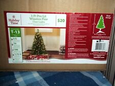 Holiday Time Winston Pine 3 Ft Christmas Tree 70 Clear Lights 106 Branch Tip Nib