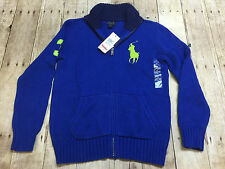 RALPH LAUREN POLO FULL ZIP SWEATER RUGBY BIG PONY BOYS SIZE MEDIUM 10-12 NEW