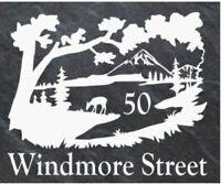 Personalised deer scene door plaque, sign, welsh slate, engraved,