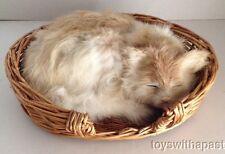 """Sleeping CAT Kitten Real Rabbit Fur 7"""" Figure Wicker Basket"""