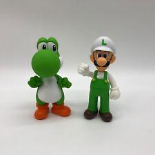 "2X New Super Mario Bros Yoshi & Fire Luigi PVC Plastic Figure Doll Toy 5.5""/14cm"