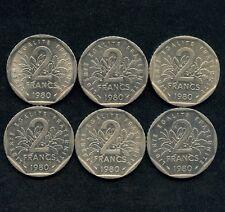 Lot Of 6 1980 France 2 Franc Coins