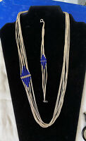 Liquid Silver & Lapis  Necklace & Bracelet Set