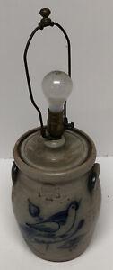 POTTERY WORKS SALT GLAZE POTTERY LAMP WITH BIRD MOTIF