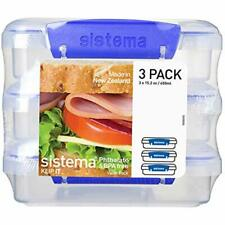 3 Pcs Bread Container Sandwich Box Lunchbox Food Storage Slim Compact Fit Travel