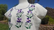 Mexican Oaxacan emboidered ivory  blouse SM authentic ethnic