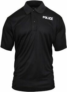 Black Moisture Wicking POLICE Officer Double Sided Polo Golf Shirt