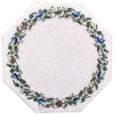 """18"""" x 18"""" Decorative White Home Decor Marble Inlay Work Table Top"""
