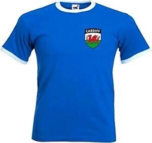 Cardiff City FC Football Club Retro Style Football Soccer T-Shirt - All Sizes