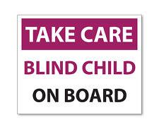Tenga cuidado ciego niño a bordo, Emergencia/Seguridad Coche Van Bicicleta estática