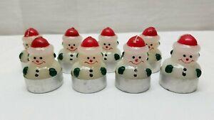 Christmas Decorations Vintage Snowman Candle Tea Light Ornament Lot Miniature