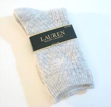 Ralph Lauren Ladies Socks Angora Wool Blend Diagonal Waffle Solid Grey - NEW