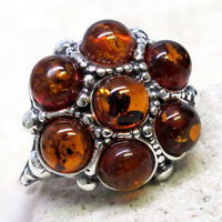 ATTRACTIVE BALTIC AMBER 925 STERLING SILVER RING SIZE 5-10