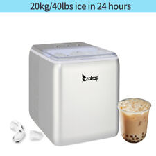 44lbs/24H Compact Cube Ice Maker Countertop with Ice Scoop & Basket Portable Wht