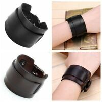 Unisex Punk Genuine Cow Leather Gothic Bracelet Wristband Wrap Belt Bangle