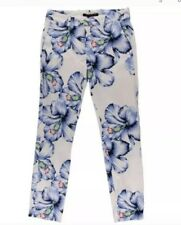 Zara Capri Floral Pants Blue Flower White Size Large Vintage Casual Dancer