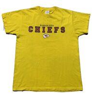 Kansas City Chiefs Majestic T-Shirt Yellow Short Sleeve Crew Neck Size Medium