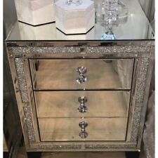 Brand New Crushed Diamond Mirrored Bedside Table