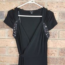 ROCKMANS sz 10 Solid Black Beaded Front Silky Feel Shrt Slv Wrap Dress Waist Tie