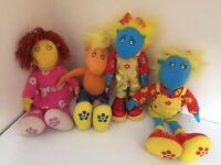 "90's 11"" Tweenies Bundle Soft Toys Plush - 1 Jake, 1 Fizz and 2 Bella"