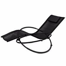 Folding Orbit Zero Gravity Chair Patio Lounger Rocking Relax Outdoor black