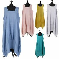 New Italian Linen Lagenlook Plain Square Neck Sleeveless Ladies Tulip Midi Dress