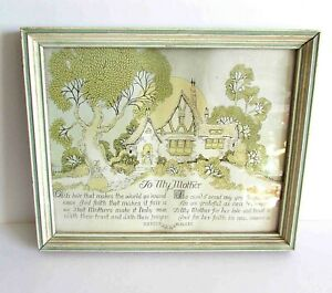 "VTG TO MY MOTHER Framed Verse Art Deco Buzza Style Art Publ Chicago 11"" FREE SH"
