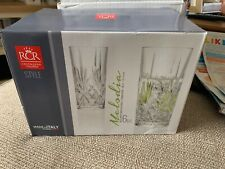 NEW SET OF 6 RCR MELODIA CLEAR CRYSTAL ALL PURPOSE GLASSES 12 OZ-ITALY