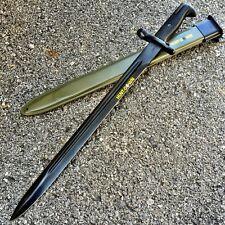BLACK M1 1943 OL US RIFLE BAYONET W/GREEN SHEATH Dagger Knife Hunting WWII -TH
