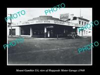 OLD LARGE HISTORIC PHOTO OF MOUNT GAMBIER SA, THE HOPGOODS MOTOR GARAGE c1940