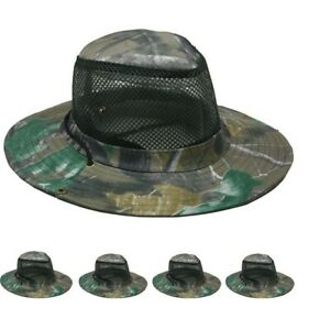120pc Camouflage Hardwood Camo MESH Fishing Hats Boonie Outback Hat w/ Snaps
