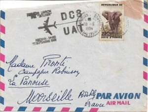 1960 - Ivory Coast - First flight Cover for DC8 - Abidjan to Paris France