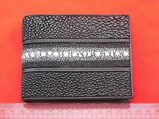 Genuine Pearl Stingray Wallets Skin Leather Bifold Purses Black Men's Wallets