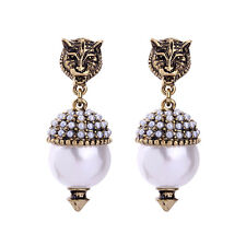 Boucles d`Oreilles Clous Doré Leopard Gravure Mini Perle Blanc Retro AA19
