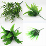 Artificial Plastic Fake Plants Fern Leaf Bush Foliage Home Office Garden Decor