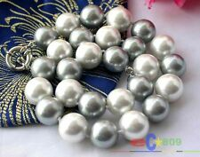 """p1069 17"""" 14MM WHITE GRAY SOUTH SEA SHELL PEARL NECKLACE"""
