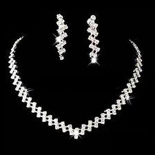 Moda Mujeres Nupcial Boda Fiesta Baile de Graduación Diamantes De Imitación Set Collar Aretes bisutería
