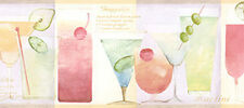 Pastel Color Cocktails Martini Glass Bar Wine Mixed Drink Wall paper Border