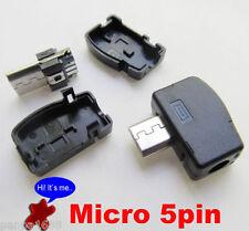 10 conjuntos de ángulo 90D Micro USB 5 Pin Conector Hembra Enchufe Macho con cubierta de plástico