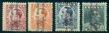 Spain #484-7 Partial set, overprinted in blue or red, high values in set, og, Lh