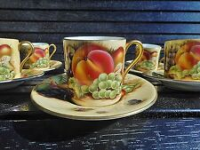 Aynsley - set of 8 Orchard Gold vintage coffee cups and saucers by M.Aynsley