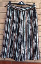 PRIMARK BLACK MULTI COLOUR STRIPED BELTED CULOTTES CROP CHINO SHORTS 12
