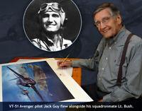 3 autographs! VT-51 TBM Avenger John Shaw Showing President George H.W. Bush