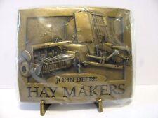 John Deere 348 Square & Round Baler Hay Makers Brass Belt Buckle 1994 jd  NEW