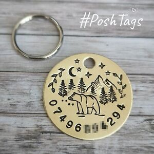 Single disc solid brass Bear in the Mountains - handmade pet dog ID tag PoshTags