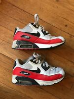 Nike Air Max 90 Boys Youth Size 1.5 Eur 33 Red Black White Sneakers Shoes Laces