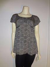 Studio M Women's Black White Geometric Print Tunic Top Blouse Size Small - New