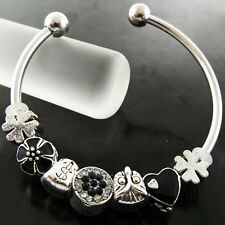 BRACELET BANGLE REAL 925 STERLING SILVER S/F SOLID ONYX BEAD CUFF CHARM DESIGN